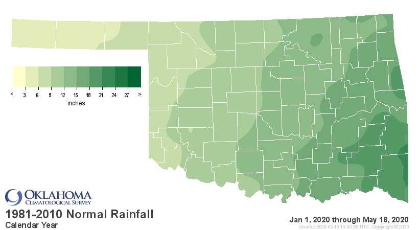 Normal Precipitation for Oklahoma for the Calendar Year