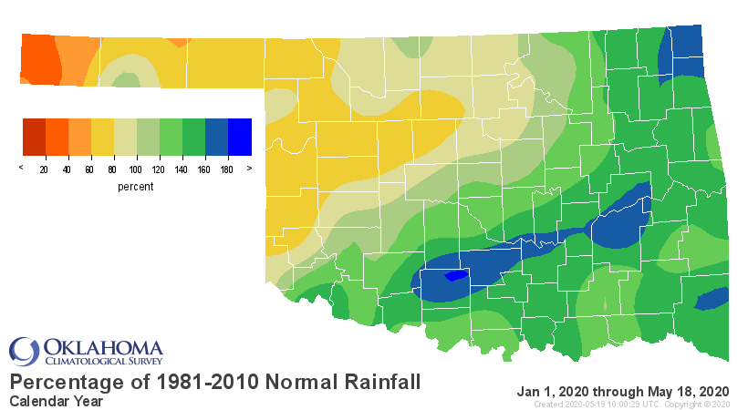Precipitation Percentage of Normal for Oklahoma for the Calendar Year