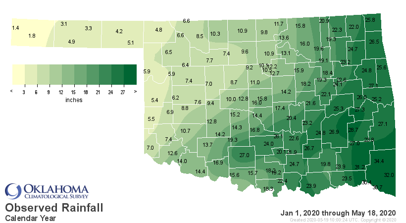 Total Precipitation for Oklahoma for the Calendar Year